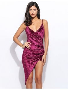 Wine red Women Velvet Asymmetrical Dress