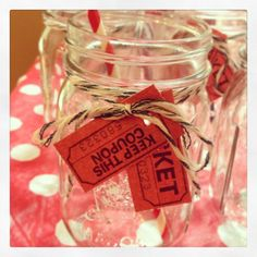 Decorated mason jars for a carnival themed party