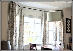 I'm so over the blinds in our house. I'm switching to curtains. But I want stenciled curtains!!!