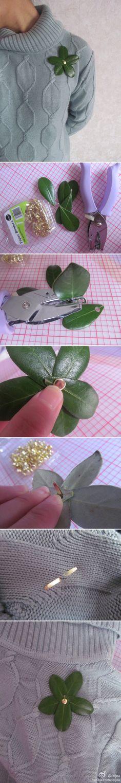 paper binder and leaves brooch