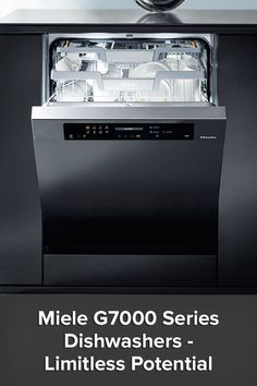 The G7000 Series is the culmination of Miele's efforts to transcend the limitations of appliance construction and bring you dishwashers with advanced washing capabilities, versatile load positioning and state of the art controls as diverse as your cleaning needs. FlexLine Baskets slide and fold to make room for all sizes and shapes of dinnerware while AutoDos with PowerDisk dispenses the exact amount of detergent your dishes need at your custom pre-scheduled times. Miele Dishwasher, Stainless Steel Dishwasher, Miele Kitchen, Commercial Plumbing, Dishwashers, Build Your Dream Home, Water Conservation, Decorating Tips, Luxury Homes