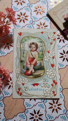 Victorian Valentine's Cupid Cherub Child Post Card by ZoesOldeShoppe Shabby chic vintage