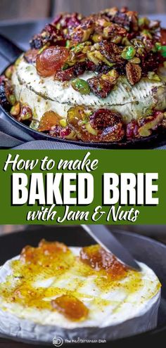 Got 15 minutes? Make this show-stopping baked brie jam and nuts. It's a winning party appetizer every time! serve it with crackers or make it the centerpiece of a larger cheese board. Baked Brie Appetizer, Gourmet Appetizers, Appetizers For Party, Appetizer Recipes, Baked Brie Recipes, Fig Recipes, Chef Recipes, Cooking Recipes, Tasty