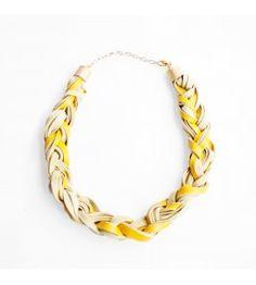 Leather braid necklace Cashmere Poncho, Jewelry Accessories, Handmade Jewelry, Chain, Bracelets, Gold, Leather, Fashion, Moda