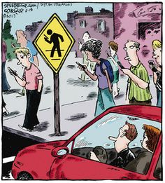 Señal de tráfico para evitar atropellar peatones usando el WhatsApp. …