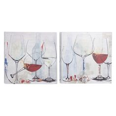 The DecMode Painted Wine Goblets Wall Art - Set of 2 boasts canvas and resin construction with a painted design in shades of gray and red. These wall.