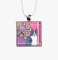 Cat Art Jewelry/ Whimsical Gray & White Kitty Pendant by Susan Faye #cat #jewelry #spring