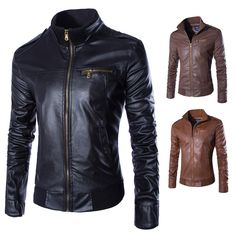 2015 new fashionable high-quality self-cultivation men stand collar leather