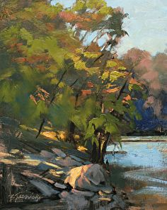 Down the River by Barbara Jaenicke Oil ~ 10 x 8