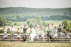 outdoor wedding photography poses | ... and wedding party pose outside for wedding photographer | OneWed.com