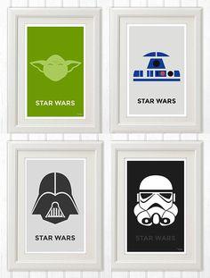R2D2, Yoda, Darth Vader and a Storm Trooper Minimalist Poster 11x17 Instant PDF…