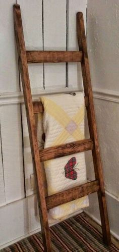 Rustic Quilt Ladder, Blanket Ladder, Rustic Wood Ladder, Country Decor, Decorative Ladder, Farm House Decor, Quilt Rack, Towel Rack