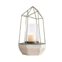 Metal Candleholder found on Polyvore featuring home, home decor, candles & candleholders, fillers, metal candle holder, colorful home decor, modern candle, modern home accessories and geometric candle holder
