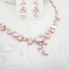 Rosy Pink Spring Earrings Necklace Set Rosy pink Formal and