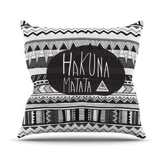 Hakuna Matata Lion King Aztec Black and White Throw Pillow Vasare Nar Kess Inhouse