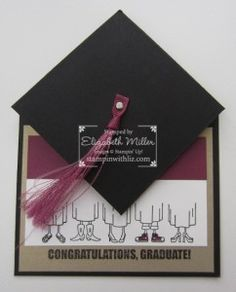 handmade graduation card ... fun fold that puts a mortarboard hat on top ... pocket for  gift card or cash inside ... tutorial on blog ... Stampin' Up!