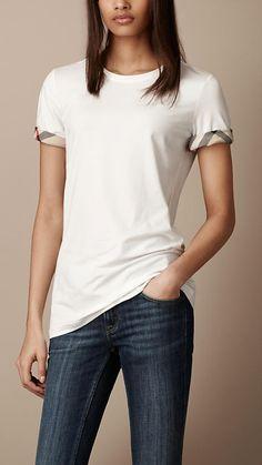Check Cuff Cotton T-Shirt | Burberry
