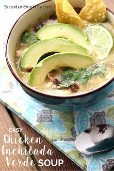 The easiest and best tasting Chicken Enchilada Verde Soup recipe! It has so much flavor you'll think it's been simmering hours, but only takes 30 minutes! #souprecipe #mexicanfood via @https://www.pinterest.com/Erin_Simplicity/
