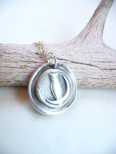 Owl moon wax seal pendant made from recycled by DreamofaDream