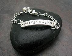 Hand Stamped Jewelry • Personalized Bracelet • Sterling Silver Bracelet • My girl on Etsy, $48.00