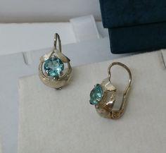 Alte antike Ohrringe mit Blautopas Creolen SO173 von Schmuckbaron