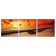 Add an eye-catching look to any room with the Pier by Sunset 3-Panel Wall Art from Elementem Photography. Featuring a digitally printed view of a seaside pier at dusk creating a colorful, stunning look on your wall.