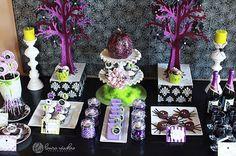 glam Halloween dessert table