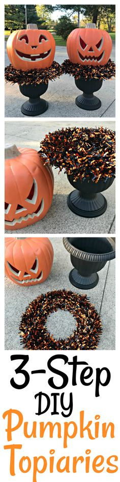 DIY Pumpkin Topiaries – The Cards We Drew DIY Pumpkin Topiaries Learn how to make easy DIY Pumpkin Topiaries for Halloween using just three easy, inexpensive items. Fairy Halloween Costumes, Outdoor Halloween, Halloween Projects, Holidays Halloween, Spooky Halloween, Halloween Treats, Halloween Pumpkins, Happy Halloween, Halloween Party