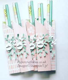 Pootlers Team swaps, pencil wraps with tropical chic papers, Stampin'Up! Stampin'Up! Tropical chic pencil wrap, craft fair idea, x 3d Paper Crafts, Paper Gifts, Diy Paper, Cajas Silhouette Cameo, Retreat Gifts, Craft Show Ideas, Stamping Up, Craft Fairs, Little Gifts