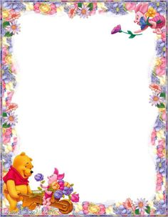 """""""Tell A Story"""": Winnie & Piglet from """"Winnie the Pooh"""", as courtesy of Walt Disney Free Printable Stationery, Printable Paper, Borders For Paper, Borders And Frames, Christmas Letterhead, Boarder Designs, Winnie The Pooh Friends, Free Christmas Printables, Paper Frames"""