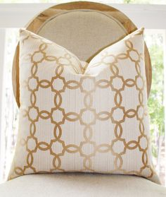 Decorative Gold Ivory Quatrefoil Pillow by MotifPillows, $36.00