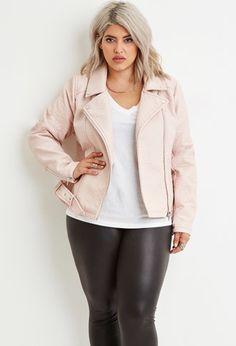 Plus Size Faux Leather Moto Jacket   Forever 21 PLUS -  #curvyfashion #plussize #fallfashion