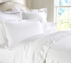 Linen with Silk Trim Duvet Cover & Sham #potterybarn