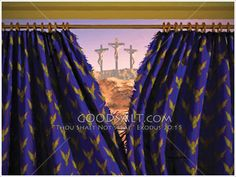 The veil to the Most Holy place in the Jewish temple being torn from top to bottom by unseen hands at the moment of Christ's death. Meditation Images, Jewish Temple, Easter Paintings, Jesus Wallpaper, Lenten, King Of Kings, Bible Art, God Is Good, Christian Life