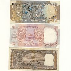 3 India Notes Diffe 10 Ru