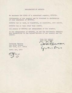 Declaration of Nutopia, John Lennon and Yoko Ono
