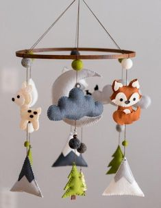 Most Popular Baby Room Woodland Theme Ideas Woodland Animal Nursery, Woodland Nursery Decor, Woodland Animals, Woodland Mobile, Woodland Theme, Wet Felting, Scandinavian Style, Stuffed Animals, Mobiles
