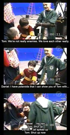 Young Tom Felton and Daniel Radcliffe behind the scenes