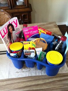 Baby shower gift: Hospital survival kit. Fill it with snacks, magazines, drinks, magazines and 1-2-3 Just Play With Me! www.milestonesandmiracles.com #babyshowergift