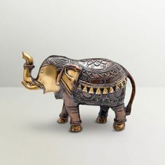 Ethnic Brass Royal Indian Elephant Showpiece - Add oodles of style to your home with an exciting range of designer furniture, furnishings, decor items and kitchenware. We promise to deliver best quality products at best prices. Dhoti Saree, Buddha Decor, Reclining Buddha, Royal Indian, Ethnic Chic, Pooja Rooms, Indian Elephant, Indian Home Decor, Moustache