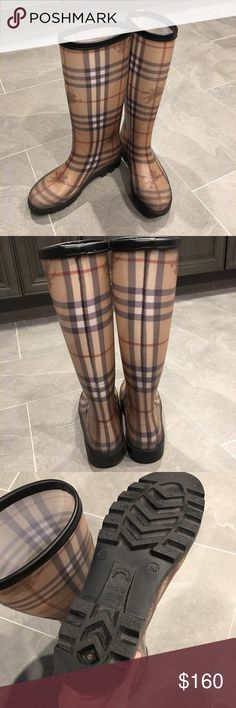 Burberry Rain boots ☔️ Authentic Burberry Haymarket Check Rain Boots ☔️. - Only worn one season. Minor wore on the bottom (as shown on picture). Everything else is like brand new. Rubber upper, fabric lining.  Size 36 (EUR) /6 (USA). No original box and receipt. Burberry Shoes Winter & Rain Boots