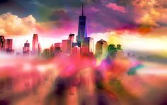 Nieuw in mijn Werk aan de Muur shop: Reflectie van Manhattan New York City II