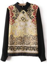 #sheinside  Black Long Sleeve Totem Print Chiffon Blouse $29.68