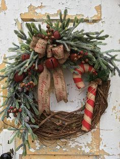 Primitive Christmas Wreath Rustic Christmas Wreath for Front