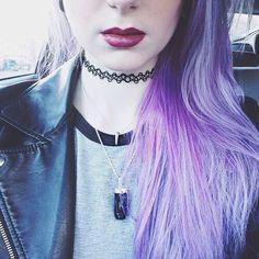 cute, fancy, girl, hair, lips, love, purple, wallpaper, tattoo choker