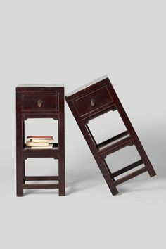 The original lacquer surfaces on this pair of 19th century elm wood tea tables from Northern China are smoothly worn and deeply patinated after over a century of use. With straight, clean lines, they are forerunners to modernist furniture, yet constructed with traditional Chinese carpentry techniques. Asian Furniture, Cabinet Furniture, Wood Furniture, Tea Tables, Modern Asian, Small Cabinet, Antique Cabinets, Traditional Furniture, Small Storage