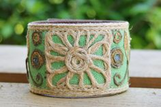 CUSTOM HANDSTAMPED green canvas cuff with stitching by mothercuffer by mothercuffer on Etsy