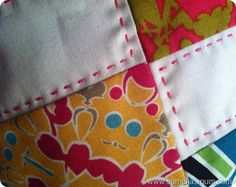 Hand quilting - in hot pink perle 8