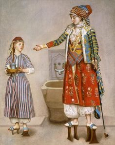 Wallmonkeys A Woman in Turkish Costume in a Hamam Instructing Her Servant by Jean-etienne Liotard Peel and Stick Wall Decals WM272487 (36 in H x 29 in W) ** See this great image  (This is an amazon affiliate link. I may earn commission from it)