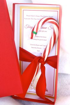 Christmas Tree and Candy Cane Couture Invitation
